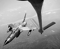 0102471 © Granger - Historical Picture ArchiveVIETNAM WAR: F-105, 1967.   A U.S. Air Force F-105 Thunderchief supersonic fighter-bomber in flight over Vietnam, 1967.
