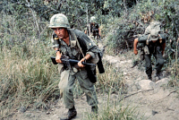 0528189 © Granger - Historical Picture ArchiveVIETNAM WAR, 1966.   Members of a long range reconnaissance patrol team from the 101st Airborne Division searching for Viet Cong near Tuy Hoa, Vietnam. Photograph, 27 February 1966.