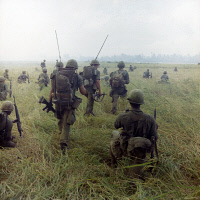 0528192 © Granger - Historical Picture ArchiveVIETNAM WAR, 1966.   Members of the 101st Airborne Division moving across a rice field in search of Viet Cong. Photograph, 23 January 1966.