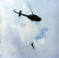 0528196 © Granger - Historical Picture ArchiveVIETNAM WAR, 1967.   Members of the 1st Air Cavalry Division conducting helicopter training exercises in An Khe, South Vietnam. Photograph, 31 January 1967.