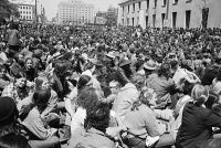 0528462 © Granger - Historical Picture ArchiveANTI-WAR PROTEST, 1971.   Anti-war protesters sitting in the street in front of the Department of Justice Building in Washington, D.C. Photograph by Warren K. Leffler, 4 May 1971.