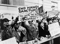 0621650 © Granger - Historical Picture ArchivePRO-WAR DEMONSTRATION.   Protesters with signs supporting American soldiers in Vietnam and advocating the bombing of Hanoi, gathered in response to a peace march to the United Nations Building in New York. Photograph, 15 April 1967.