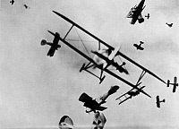 0003765 © Granger - Historical Picture ArchiveWWI: DOGFIGHT.   Model German and Allied airplanes in simulated combat. Photograph, c1933.