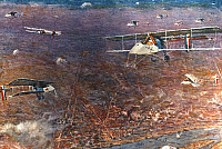 0028549 © Granger - Historical Picture ArchiveWORLD WAR I: FRENCH PLANES.   Squadron of French fighter planes over the Rhine during World War I, c1915. Oil, 1915, by Henri Farre.