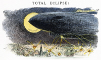 0035588 © Granger - Historical Picture ArchiveCARTOON: AIRSHIP, 1914.   'Total Eclipse?' American cartoon remarking on the potential of the airship to wreak indiscriminate destruction on humanity. Cartoon by Luther Daniels Bradley, 1914.