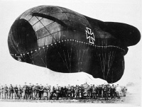 0041427 © Granger - Historical Picture ArchiveWORLD WAR I: AIRSHIP.   A German barrage balloon and ground crew during World War I.
