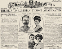 0043016 © Granger - Historical Picture ArchiveFERDINAND ASSASSINATION.   The front page of 'The Los Angeles Times' on the day following the assassination of Archduke Franz Ferdinand and his wife, Archduchess Sophie, at Sarajevo, Bosnia, on 28 June 1914.