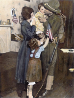 0051428 © Granger - Historical Picture ArchiveWORLD WAR I: DEPLOYMENT.  Private T.P. Loughlin of the 69th Infantry saying farewell to his family in 1917 before being deployed to Europe during World War I. Oil over a photograph, 1917.