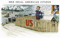 0056953 © Granger - Historical Picture ArchiveCARTOON: ISOLATION, 1916.   'Her Ideal American Citizen.' Cartoon on the Senate's opposition to American intervention in World War I. Cartoon by Luther D. Bradley, 1916.