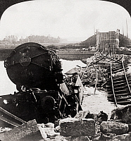 0057422 © Granger - Historical Picture ArchiveWORLD WAR I: MARNE BRIDGE.   Stereograph view of the Marne Bridge and a Red Cross train wreck after an attack by German forces, 1914-1918.