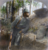 0076268 © Granger - Historical Picture ArchiveWWI: GERMAN SOLDIER, 1916.   A German soldier on watch from his trench on the Russian front, 1916. Oil over a photograph.