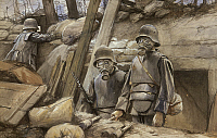 0103885 © Granger - Historical Picture ArchiveWORLD WAR I: GAS MASKS.   'German Soldiers with Gas Masks.' Oil on canvas, 1917, by Francois Flameng.