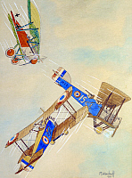 0104272 © Granger - Historical Picture ArchiveWORLD WAR I: AERIAL COMBAT.   French biplanes (from an American squadron in French service) in a dogfight with a German biplane during World War I. Painting, 1932, by M. Woodruff. EDITORIAL USE ONLY.