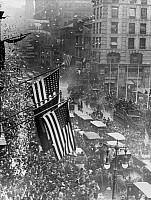 0166569 © Granger - Historical Picture ArchiveNEW YORK CITY: ARMISTICE DAY.   Parade down 5th Avenue in New York City, celebrating Armistice Day, November 1918.