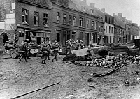 0183913 © Granger - Historical Picture ArchiveWORLD WAR I: FRANCE, 1918.   German troops in the town of Bailleul, France, near the Belgian border, during World War I. Photograph, 1918.