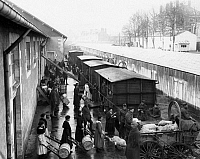 0183943 © Granger - Historical Picture ArchiveWORLD WAR I: NEVERS.   French women loading boxcars with supplies for soldiers at Nevers, France. Photographed during World War I.