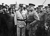0216771 © Granger - Historical Picture ArchivePERSHING & PELLETIER, 1917.   General John J. Pershing (center right) being received by General Pelletier after arriving at Boulogne, France, during World War I, 13 June 1917. General Hunter Liggett stands between and slightly behind them, and Lieutenant Colonel James G. Harbord, Pershing's chief of staff, stands directly behind Pershing at right.
