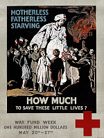 0216794 © Granger - Historical Picture ArchiveWORLD WAR I: RED CROSS.   'Motherless, fatherless, starving - How much to save these little lives.' American Red Cross lithograph poster for War Fund Week, 20-27 May 1917.