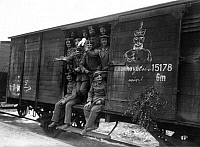 0323193 © Granger - Historical Picture ArchiveWORLD WAR I: MOBILIZATION.   German soldiers at a train station in Berlin, Germany, being transported to fight in World War I. Photograph, 4 August 1914. Full credit: Haeckel Archiv - ullstein bild / Granger, NYC -- All rights