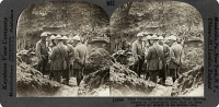 0325191 © Granger - Historical Picture ArchiveWWI: FRANCE, c1916.   'Tatoi trenches in the Croisettes Wood showing officers in consultation just half an hour before the attack on the Somme line.' Stereograph, c1916.