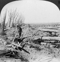 0325449 © Granger - Historical Picture ArchiveWORLD WAR I: MENIN ROAD.   A British soldier scrounging for souvenirs from the battlefield at Menin Road Ridge in Flanders. He uses a long wooden plank for fear the object might be booby trapped. Stereograph, c1917.