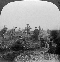 0325453 © Granger - Historical Picture ArchiveWORLD WAR I: TRENCHES.   Troops with the British Royal Engineers constructing second line trenches in Flanders. Stereograph, c1915.