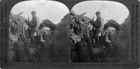0325460 © Granger - Historical Picture ArchiveWORLD WAR I: TRENCH, c1915.   A French soldier in a trench, on observation duty. Stereograph, c1915.