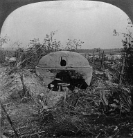 0325461 © Granger - Historical Picture ArchiveWORLD WAR I: CUPOLA, c1918.   A destroyed German cupola, made to house a machine gun, on a battlefield in northern France. Stereograph, c1918.