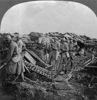 0325480 © Granger - Historical Picture ArchiveWORLD WAR I: TRENCH, c1917.   French troops on ground captured from the enemy by the U.S. Marines. Stereograph, c1917.