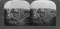 0325481 © Granger - Historical Picture ArchiveWORLD WAR I: TRENCH, c1917.   French troops on ground captured from the enemy by the U.S. Marines. Stereograph, c1917.