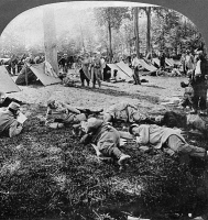 0325624 © Granger - Historical Picture ArchiveWORLD WAR I: FRENCH CAMP.   French troops relaxing at camp during World War I. Stereograph, c1916.