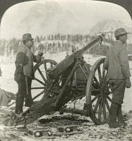 0325919 © Granger - Historical Picture ArchiveWORLD WAR I: ITALIAN GUN.   A field gun manned by a team of Italian troops, in the Alps during World War I. Stereograph, 1914-1918.