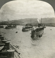 0325924 © Granger - Historical Picture ArchiveOREGON: PORTLAND HARBOR.   The torpedo boat flotilla of a fleet of battleships in Portland Harbor, Oregon. Stereograph, c1917.