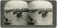 0325925 © Granger - Historical Picture ArchiveOREGON: PORTLAND HARBOR.   The torpedo boat flotilla of a fleet of battleships in Portland Harbor, Oregon. Stereograph, c1917.