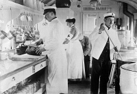 0353606 © Granger - Historical Picture ArchiveWWI: HOSPITAL, c1914.   The kitchen on board Kaiserin Augusta Victoria's hospital train. Photograph, c1914.