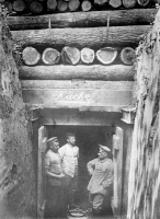 0353627 © Granger - Historical Picture ArchiveWWI: SHELTER, c1914.   German soldiers in the doorway of a bomb-proof shelter near Avincourt, France. Photograph, c1914.