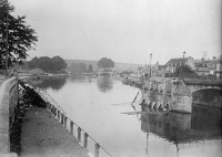 0354233 © Granger - Historical Picture ArchiveWWI: SOISSONS, 1914.   A wrecked bridge in Soissons, France. Photograph, 1914.
