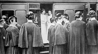 0354304 © Granger - Historical Picture ArchiveWWI: NURSES, c1914.   English nurses getting on a train at London, England, during World War I. Photograph, c1914.