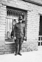 0354445 © Granger - Historical Picture ArchiveWWI: SOLDIER, c1917.   Ben Erickson outside of his home at the Faraway Ranch in Willcox, Arizona. Photograph, c1917.