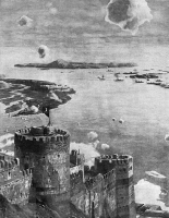 0382862 © Granger - Historical Picture ArchiveWORLD WAR I: GALLIPOLI, 1915.   The fortress of Sedd el Bahr on the Gallipoli peninsula in Turkey, with the fleet of English and French ships in the distance. German illustration from the Berliner Illustrirte Zeitung, 14 March 1915.