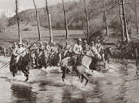 0407833 © Granger - Historical Picture ArchiveWORLD WAR I: CAVALRY.   French cavalrymen wading their horses through a stream in pursuit of the retreating German army after the First or Second Battle of the Marne, 1914 or 1918. Photograph.