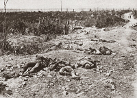 0407885 © Granger - Historical Picture ArchiveWORLD WAR I: GERMAN DEAD.   German casualties on a sunken road near Moislains, France, 1918. Photograph.