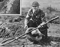 0407909 © Granger - Historical Picture ArchiveWORLD WAR I: FLAMETHROWER.   An Allied soldier with a German flamethrower during World War I. Photograph, 1914-1918.