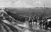 0408015 © Granger - Historical Picture ArchiveWWI: GERMANS IN RUSSIA.   German troops marching through a Russian plain during World War I. Photograph, c1916.
