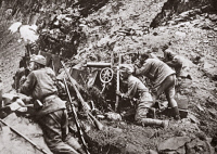 0408042 © Granger - Historical Picture ArchiveWORLD WAR I: ISONZO FRONT.   Austrian machine gunners in action against an Italian detachment on the Isonzo Front during World War I. Photograph, c1916.