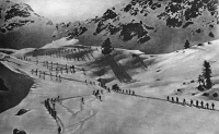 0408044 © Granger - Historical Picture ArchiveWORLD WAR I: ITALIAN ALPS.   Italian alpine troops moving through the Monte Grappa region to various strategic positions during World War I. Photograph, c1916.