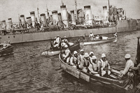 0408055 © Granger - Historical Picture ArchiveWORLD WAR I: ITALIAN NAVY.   A flotilla of destroyers moored at a naval station in Italy during World War I. Photograph, c1916.