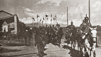 0408057 © Granger - Historical Picture ArchiveWWI: ITALIAN CAVALRY.   Squadron of Italian lancers starting in pursuit of the retreating Austrian army on the Piave River during World War I. Photograph, 1918.