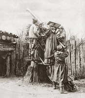 0408246 © Granger - Historical Picture ArchiveWORLD WAR I: ANTI-AIRCRAFT.   Troops sighting an anti-aircraft gun from a platform improvised from the trunk of a tree on the Western Front, near Verdun, France, during World War I. Photograph, c1916.
