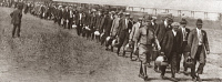 0408254 © Granger - Historical Picture ArchiveWWI: ARMY INDUCTION.   Newly drafted members of the U.S. Army arriving at Camp Dix at Wrightstown, New Jersey, during World War I, 1918.
